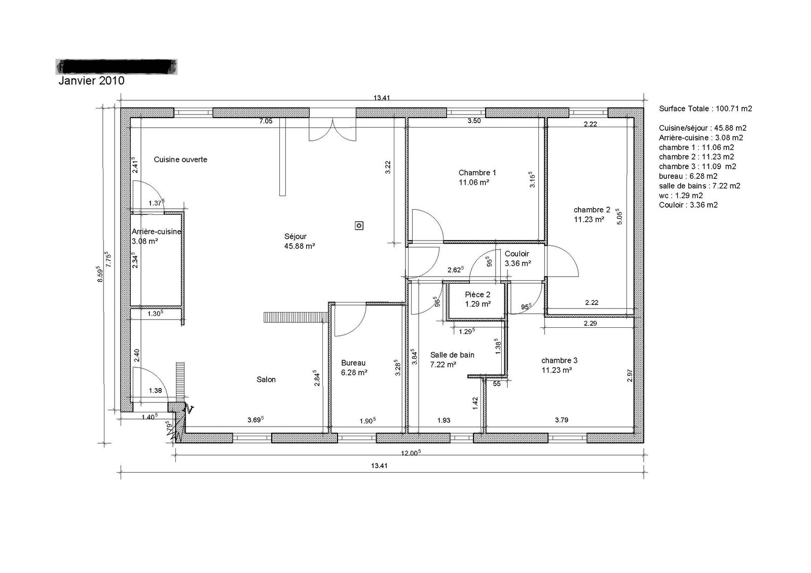Plan architecture plan maison 100m2 gratuit for Plan gratuit